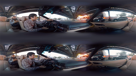 an example stereoscopic image with two equirectangular videos on top of one another