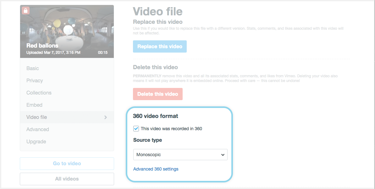 the 360 options with source type selection in video file settings