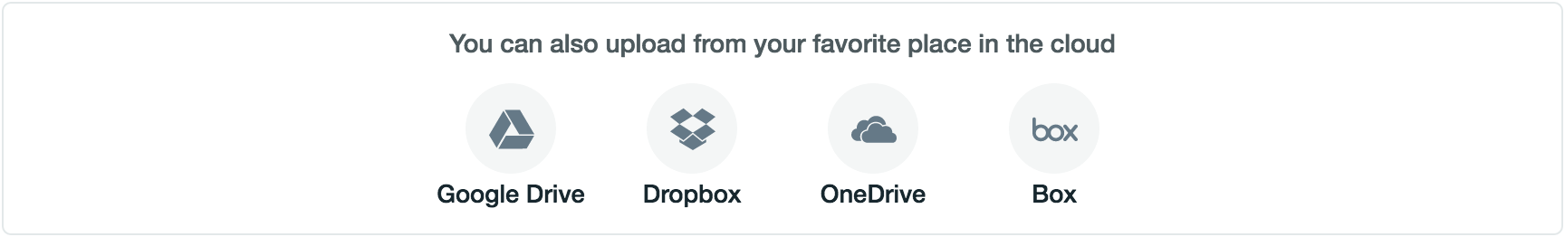 the google drive, dropbox, one drive, and box icon options in the upload menu